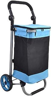 LQBDJPYS Large Capacity Shopping Trolley Wheeled Foldable Push Cart 2 Wheels Luggage Cart Bag Blue Folding Luggage Bags