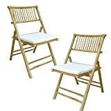 Zew Hand Crafted Foldable Bamboo Armless Outdoor Patio Chair with Curved Back and Comfotable Cushion, Set of 2 Folding Chairs, Natural