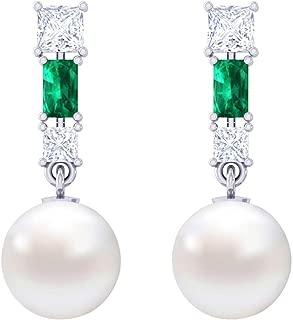 Clara 92.5 Sterling Silver Swiss Zirconia Pearl Earrings Gift for Women and Girls