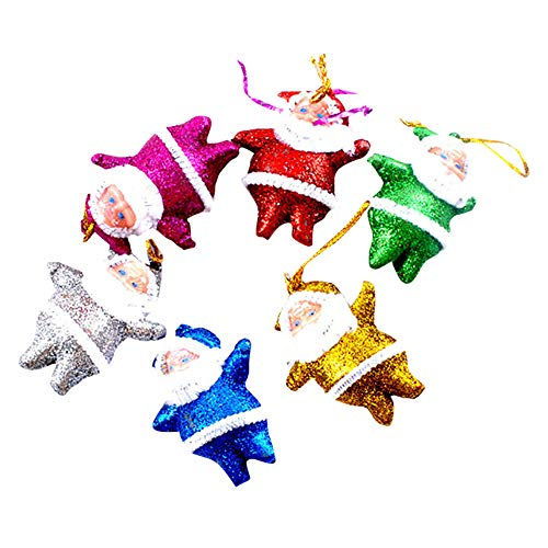 Christmas Ornaments Gift Colorful Dancing Santa Claus Doll Hang Decorations 12pcs,Festive Christmas Party Accessories,Hanging Ornaments for Xmas Tree Home Decor