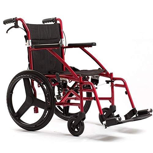 HHHXX Ergonomische ultra lichtgewicht handboek rolstoel, reistransportstoel met voetsteunen – geschikt voor ouderen, mensen met een handicap