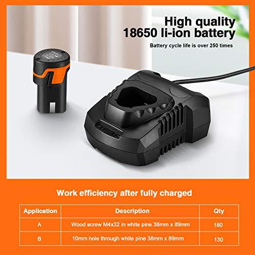 Trapano avvitatore a Batteria 12V, Cacciavite Elettrico TACKLIFE, coppia massima 27 Nm, mandrino di bloccaggio da 10 mm, Batteria da 2.0 Ah, caricatore rapido 1 ora, luce LED, 93 accessori, PCD01T