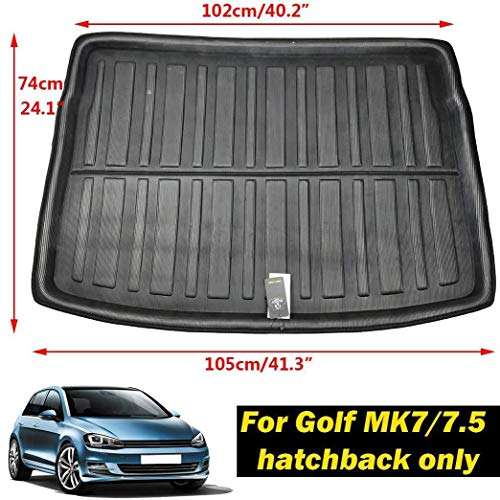 Mmhot-cd Custom Tailored Fit For Golf/GTI/R MK7 Hatchback 2013 2014 2015 2016 2017 2018 Car Trunk Mat Tailored Boot Liner Cargo Tray Rear Trunk Liner Floor Mat Sheet Carpet Luggage Tray Waterproof