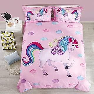 Beddinginn Lovey 3D Pink Unicorn Comforter Bedding Sets for Kids,Tencel Cotton 3-Pieces Quilt Sets,Pink Unicorn Twin