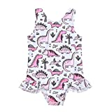SEVEN YOUNG Toddler Baby Girls One Piece Swimsuit Outfits Dinosaur Ruffles Bikini Bathing Suit Beachwear Summer Clothes (Dinosaur, 2-3 Years)