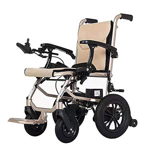 AMITD Elektrischer Rollstuhl, Leichter Faltbare Elektro Mobilitätshilfe Rollstuhl mit Bürstenlosen 300-W-Motoren,für Reisen[Vorder- und Rückseite Doppelsteuerung + Abnehmbar 2 Lithiumbatterien]