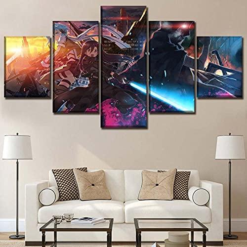 VYQDTNR XXL Arte de Pared Pinturas en Lienzo Impresiones HD Sala de Estar Decoración del hogar imágenes 5 Piezas Espada Arte en línea Anime Carteles