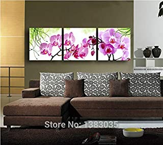 DIU Hand Painted Wall Art Flower Pink Orchid Wall Decor Oil Painting Modern Abstract 3 Panel Canvas Picture Set For Living...