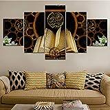 Rudxa 5 Piezas/Juego Impresión HD Lienzo Pintura Corán Islámico Arte Cuadros modulares Cuadros Religiosos Decoración para el hogar Carteles e Impresiones: sin Marco