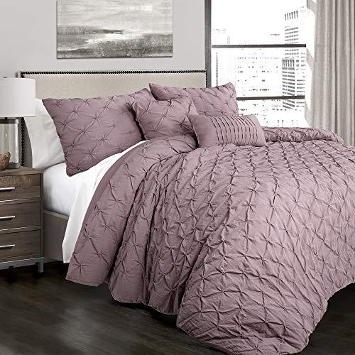 King 5pc Ravello Pintuck Comforter Set Woodrose - Lush Décor
