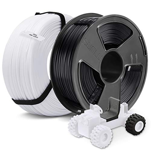 3D Drucker PETG Filament 1,75, SUNLU 2 Farben PETG 1,75 mm MasterSpool, Fit FDM 3D Drucker, 1 kg Spule, 2er Pack, Maßgenauigkeit +/- 0,02 mm, PETG Schwarz + Weiß