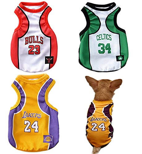 3Pack Dog Clothes for Small Dog Girl Puppy Clothes for Chihuahua Yorkies Bulldog Clothes for Medium Dogs Boy Basketball Jersey Summer Sweatshirt Pet Outfits Dog Shirt Apparel Accessories
