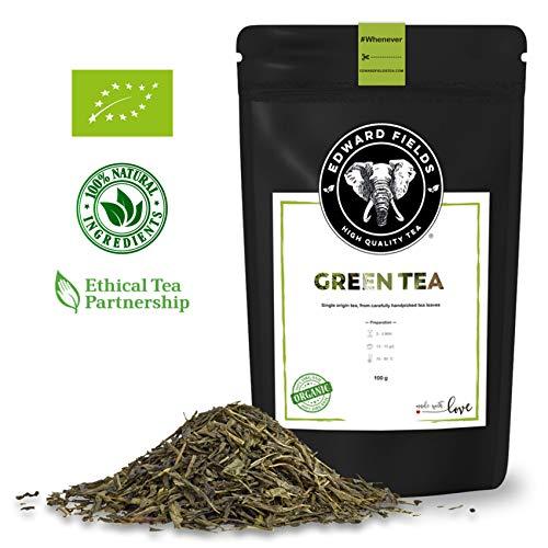 Edward Fields - Té Verde Orgánico de alta calidad. Cantidad: 100g. Formato: Granel. Origen: China. Detox, antioxidante, adelgazante