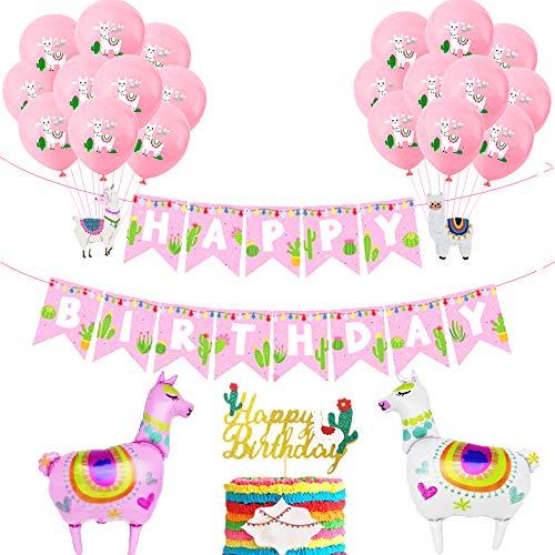 JeVenis Set von 14 Lama Geburtstagsdekoration Lama Luftballons Lama Party Dekoration Lama Alles Gute zum Geburtstag Banner Kaktus