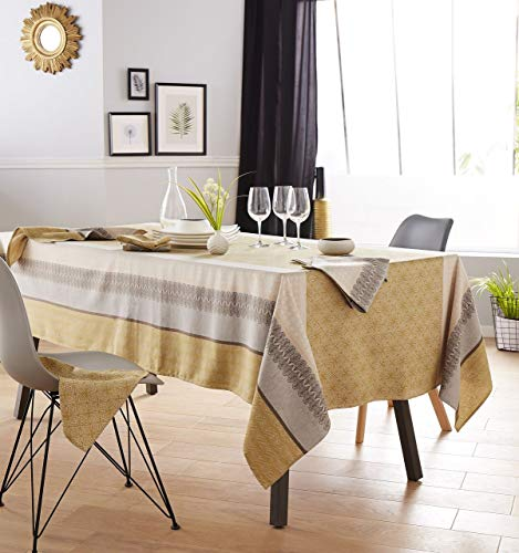Tradilinge ~ Katoen mosterd Charleston tafelkleed met gele verlooppatronen 150x350
