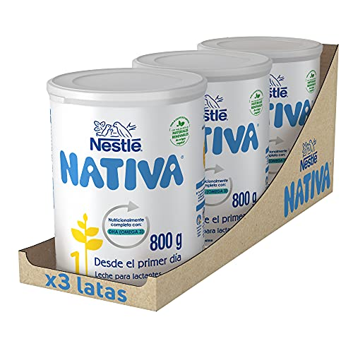 Nestlé Nativa 1- Leche Para Lactantes En Polvo- Fórmula Para Bebés- Desde El Primer Día - pack de 3 latas x800 gr - Total: 2400 gr