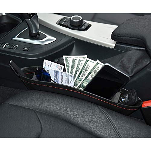 JYSW Car Gap Filler, 2 Pack Leather Car Seat Organizer Gap Pocket Car Seat Storage Box for Holding Phone, Sunglasses, Keys, Black