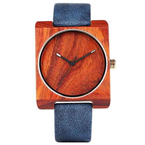 Yxxc Reloj de Madera Azul para Hombres, Mujeres, Relojes de Madera Cuadrados de Cuarzo con Banda de Cuero para niños, Reloj de Pulsera de Madera Natural para Adolescentes-