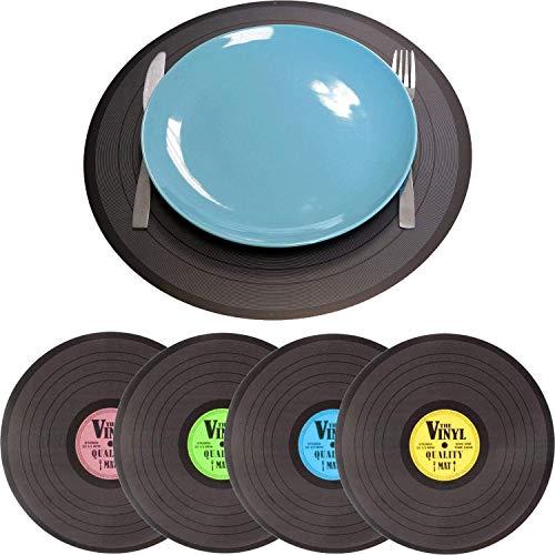 Pack de 4 Manteles Individuales de Colores Diferentes en Forma de Vinilo, Polipropileno, 4 Colores, Azul, Morado, Amarillo y Verde Mantel individual en forma de vinilo, polipropileno, 4 unidades
