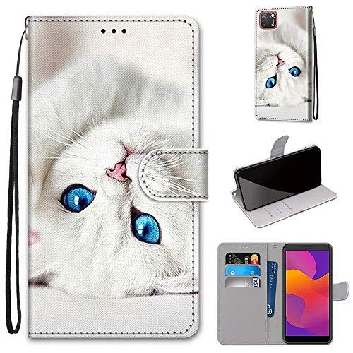 Miagon Flip PU Leder Schutzhülle für Huawei Y5P,Bunt Muster Hülle Brieftasche Case Cover Ständer mit Kartenfächer Trageschlaufe,Weiß Katze