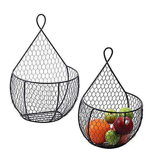 ERYTLLY Wall-Mounted Black Metal Fruit Vegetable Baskets,Large & Small Hanging Produce Bins,for Flowers,Fruits and Veggies,Decorations,and More,Set of 2 Black (2 Pack-Black)