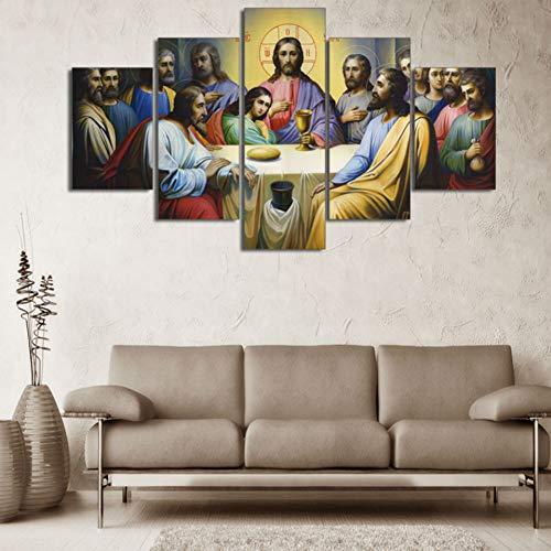 SDBY 5 Cuadro sobre Lienzo Lienzo Cartel Marco Sala de Estar Impresiones Imágenes 5 Paneles La Virgen Mary Wall Art Decoración para el hogar Pintura Abstracta Impresiones en Lienzo