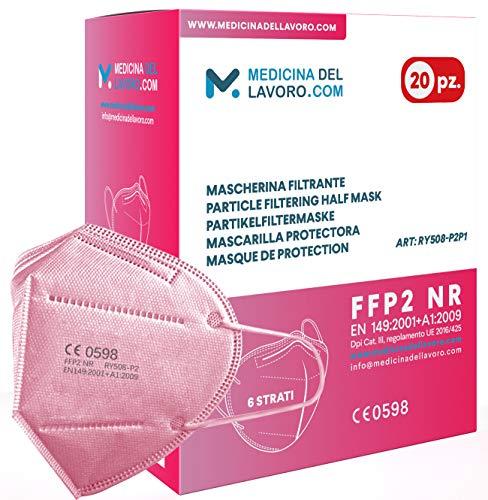 20 Mascarillas FFP2/KN95 Colores Rosa Homologadas Certificación CE sin Válvula de 6 Capas, Máscara Protectora de Polvo, Mascarilla de Protección Personal con Filtros de Calidad BFE≥95, 20 Piezas