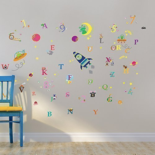 Walplus Ws3025 Galaxy Glow Plus Ws3011 Number Plus Ws3012 Alphabet Wall Sticker Combo Pack Multi Colour Buy Online In India At Desertcart In Productid 26831513