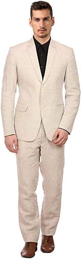 Wehilion Men's Big & Tall Linen Blend Two-Button Slim Fit 2 Pieces Suit Jacket Casual Lightweight Linen Suits for Men Beige