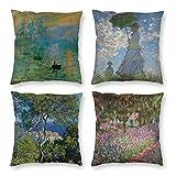 HOSTECCO Claude Monet - Juego de 4 fundas de almohada con diseño de arte cuadrado decorativo para aficionados a la pintura, 45,7 x 45,7 cm