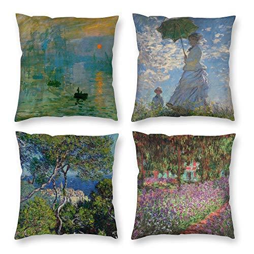 HOSTECCO Claude Monet - Set di 4 federe per cuscino impressionista, design artistico, quadrato, per famosi fan della pittura, 40 x 40 cm