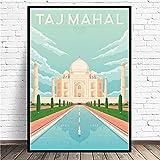 DFRES Taj Mahal India Pinturas En Lienzo De Viaje Cuadros De Paisajes Famosos Poster De Anime Impresiones Arte De Pared Minimalista Decoracion De Salon De Estar Moderna 50x70cm Sin Marco