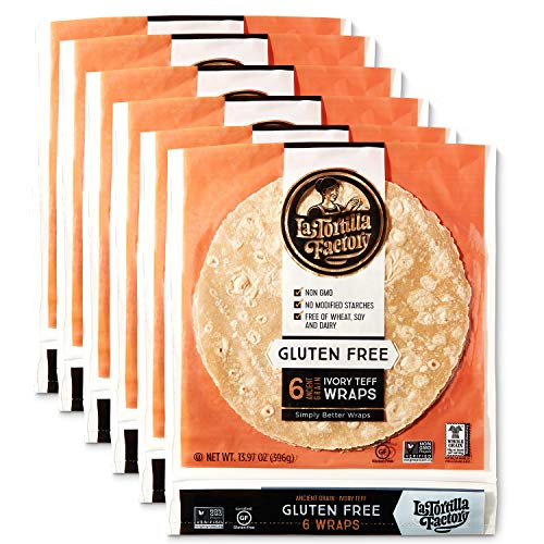 La Tortilla Factory Gluten-Free Ivory Teff Wraps, Large Size, 6-Count, 6 Packages