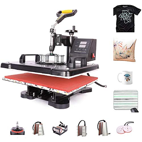 CO-Z 110V Heat Press 360 Degree Swivel 8 in 1 Heat Press Machine Multifunction Sublimation Combo T Shirt Press Machine for Mug Hat Plate Cap Mouse Pad (12