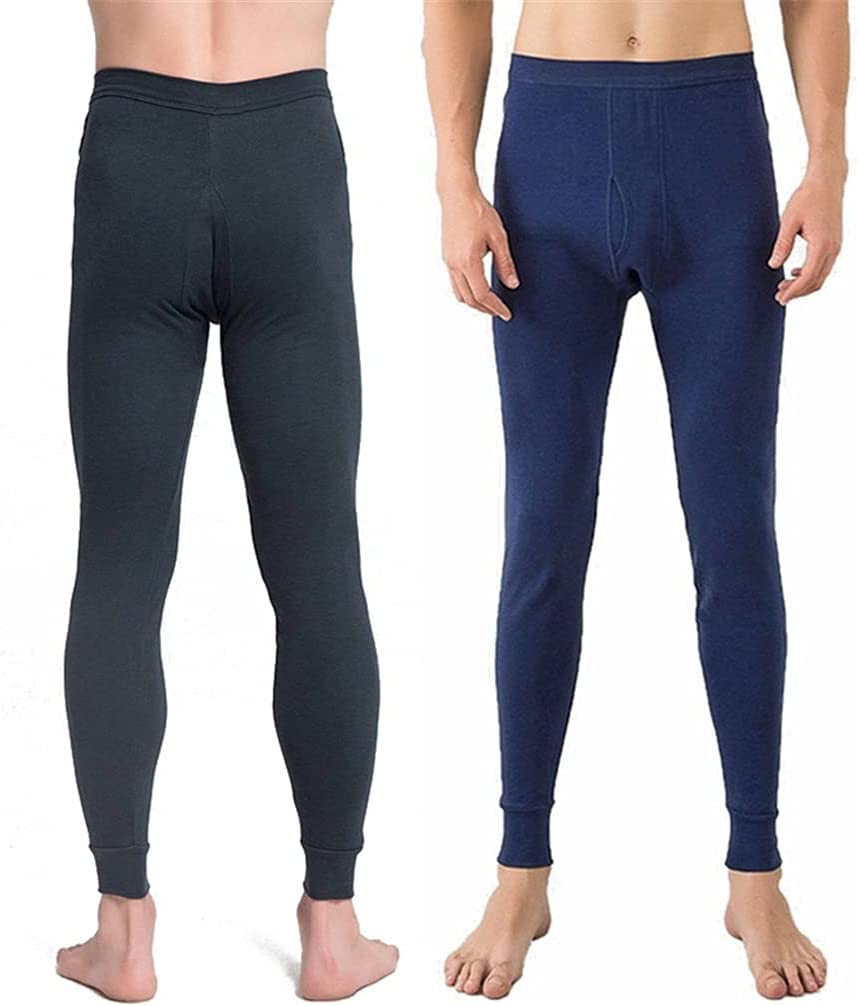 ZYKBB Cotton Men's Long Warm Thermal Pants Breathable Under Trousers Solid Color Thermal Underwear Men Sleepwear Breathable (Color : B, Size : XXL code)