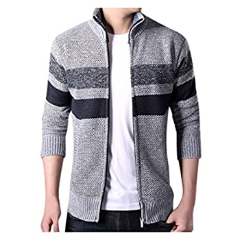 Men s Fashion Tops Knitted Cardigan Sweater Coat Warm Sweaters Gray