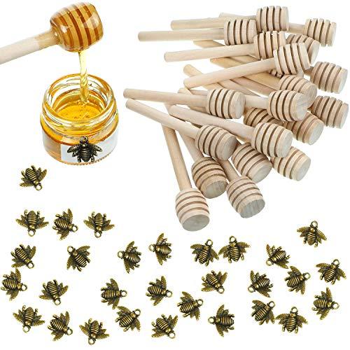 WILLBOND 3 Inch Wood Honey Dipper Sticks and Honeybee Charm Pendants Set for Honey Jar Dispense Drizzle Honey DIY Craft Jewelry Making Accessory (50 Pieces Sticks and 60 Pieces Pendants)