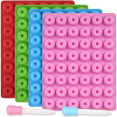 Newk Molde de silicona de 48 cavidades, 4 paquetes de moldes antiadherentes de grado alimenticio para caramelos, chocolate, gelatina, cubitos de hielo con 2 cuentagotas.