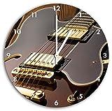 Coole E-Gitarre, Wanduhr Durchmesser 30cm mit weißen spitzen Zeigern und Ziffernblatt, Dekoartikel, Designuhr, Aluverbund sehr schön für Wohnzimmer, Kinderzimmer, Arbeitszimmer