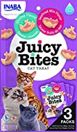 INABA Juicy Bites Cat Treats - Nibbles with juicy core in fun shapes - Shrimp & Seafood Mix, Purple