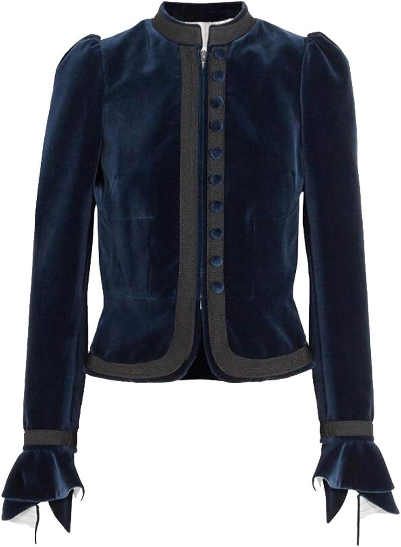 Esast Women's Classic Velvet Long Sleeve Stretch Button Zip Up Blazer Jacket