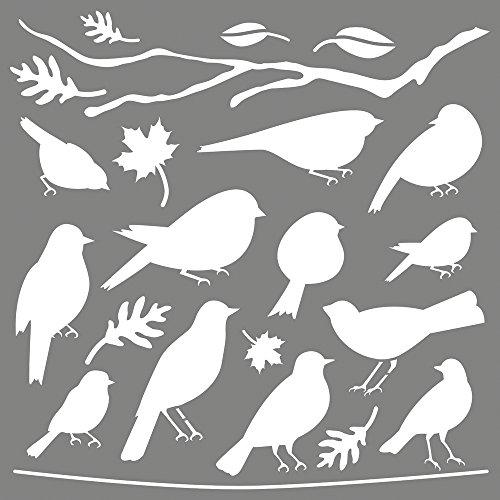 Rayher Schablone gefiederte Freunde, Diverse, Grau, 3.3 x 3.1 x 0.02 cm