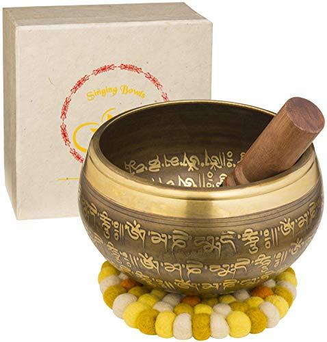 XXL Klankschaal 850g - 16cm. Grote Tibetaanse Klankschaal Set met Klepel en Klankschaalkussen in Lokta Papieren Geschenkdoos - Singing Bowl uit Tibet
