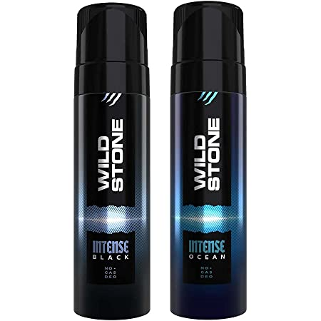 Wild Stone Intense Black and Ocean No Gas Deodorant for Men, Pack of 2 (120ml each)