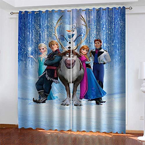 Mar Patrón 2 Paneles Cortinas Opacos Impresas Frozen Disney Princesa Aislantes Térmicas Cortina con Ojales Dormitorio Habitación Infantil Estilo Decorativo 150 x 166 cm (LxA)