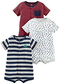 Simple Joys by Carter s Baby Boys  3-Pack Snap-up Rompers Red Stripe/White Sailboats/Navy Stripe 6-9 Months