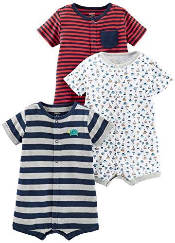 Simple Joys by Carters Baby Lot de 3 barboteuses à clipser pour bébé garçon ,Red Stripe/White Sailboats/Navy Stripe,3-6 months