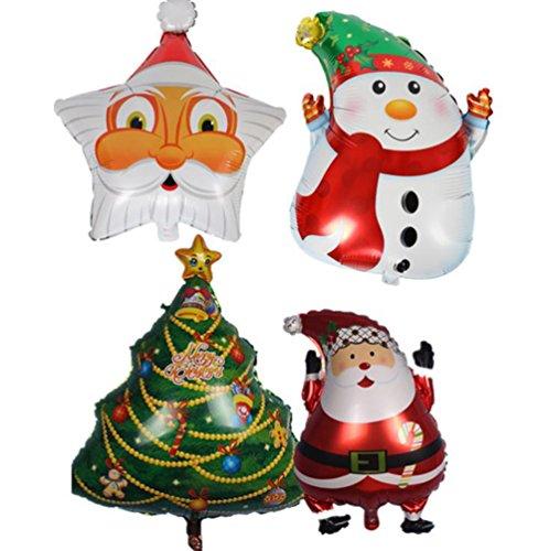 LAAT 4pcs Globo de Navidad Globos de Dibujos Animados para la Decoración de Fiesta,Papá Noel 45 * 63cm,Muñeco de Nieve 48 * 64 cm,Árbol de Navidad 75 * 55cm,Pentagram Santa Claus 48 * 60cm