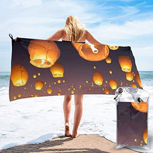 Lawenp Toalla de Playa de Secado rápido, Toallas de baño Ligeras de Microfibra Impresas con Volantes Chinos, súper absorbentes para niños y Adultos de 31.5 'X63'