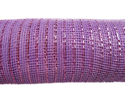 XiXiboutique 6 inch Metallic Deco Poly Mesh Ribbon 30 feet(10 Yards),Lavender